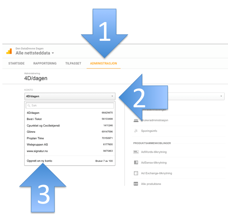 Her klikker du for å lage ny konto i Google Analytics