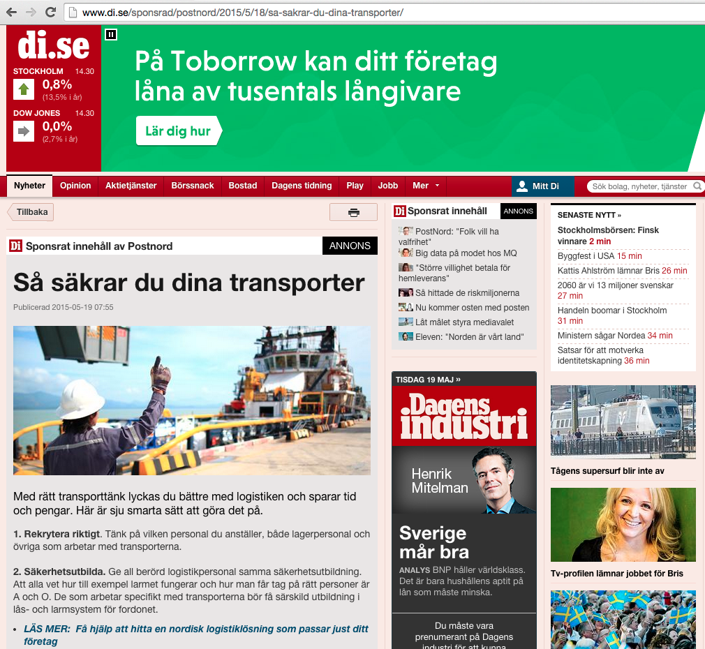 Eksempel på landingsside for native advertiding