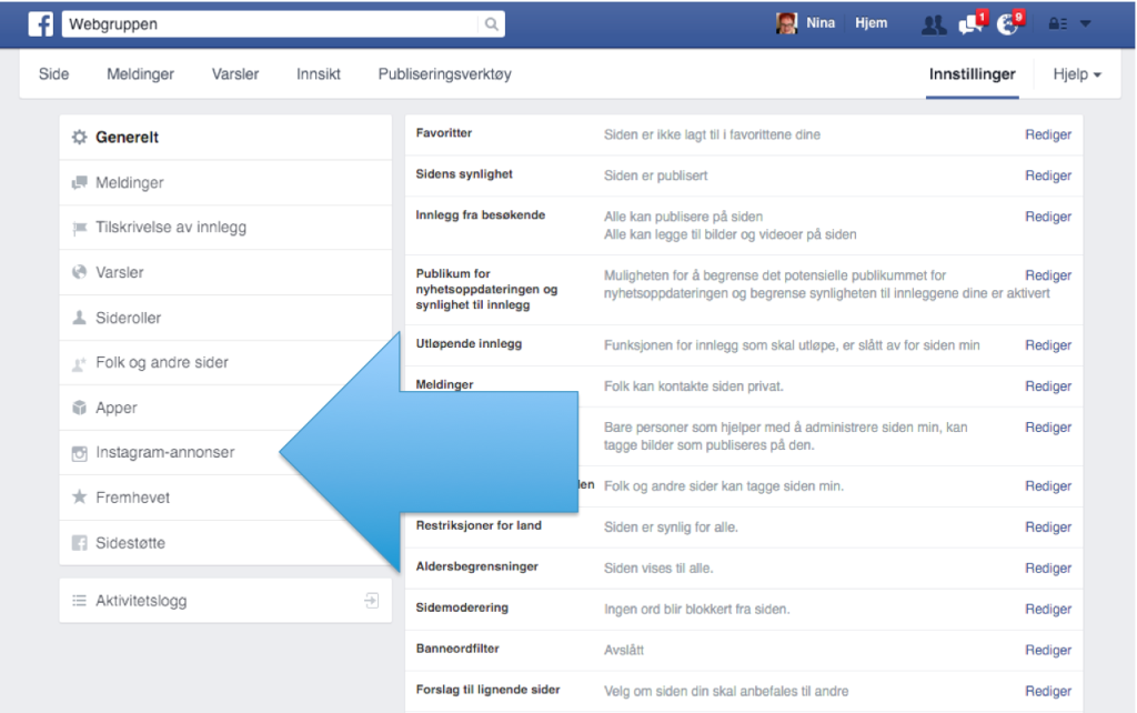 Figur som viser hvor du klikker for å koble sammen Facebook og Instagram