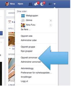 Figur som viser hvor du klikker for å lage nye annonser på Facebook