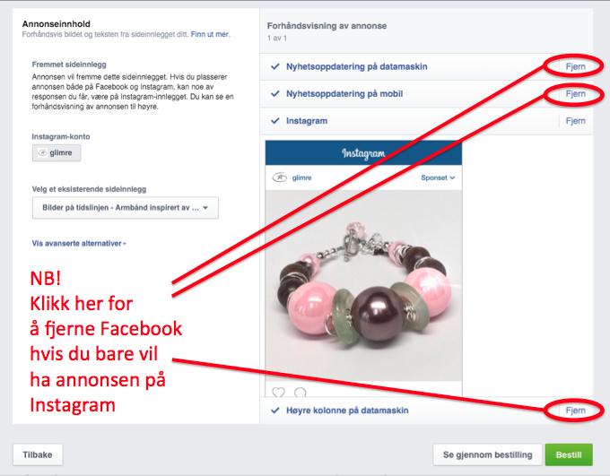 Figur som viser hvordan man bare får annonsen på Insagram og ikke på Facebook