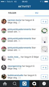Eksempel på hvordan interakssjon med andre brukere varsles på Instagram