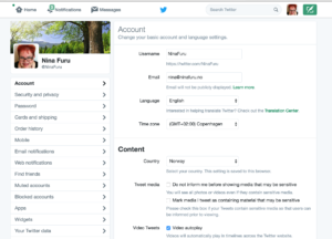Screenshot fra settings på Twitter