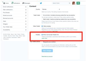 Skjermskudd: Slik endrer du innstilling for nyhetsfeeden på Twitter