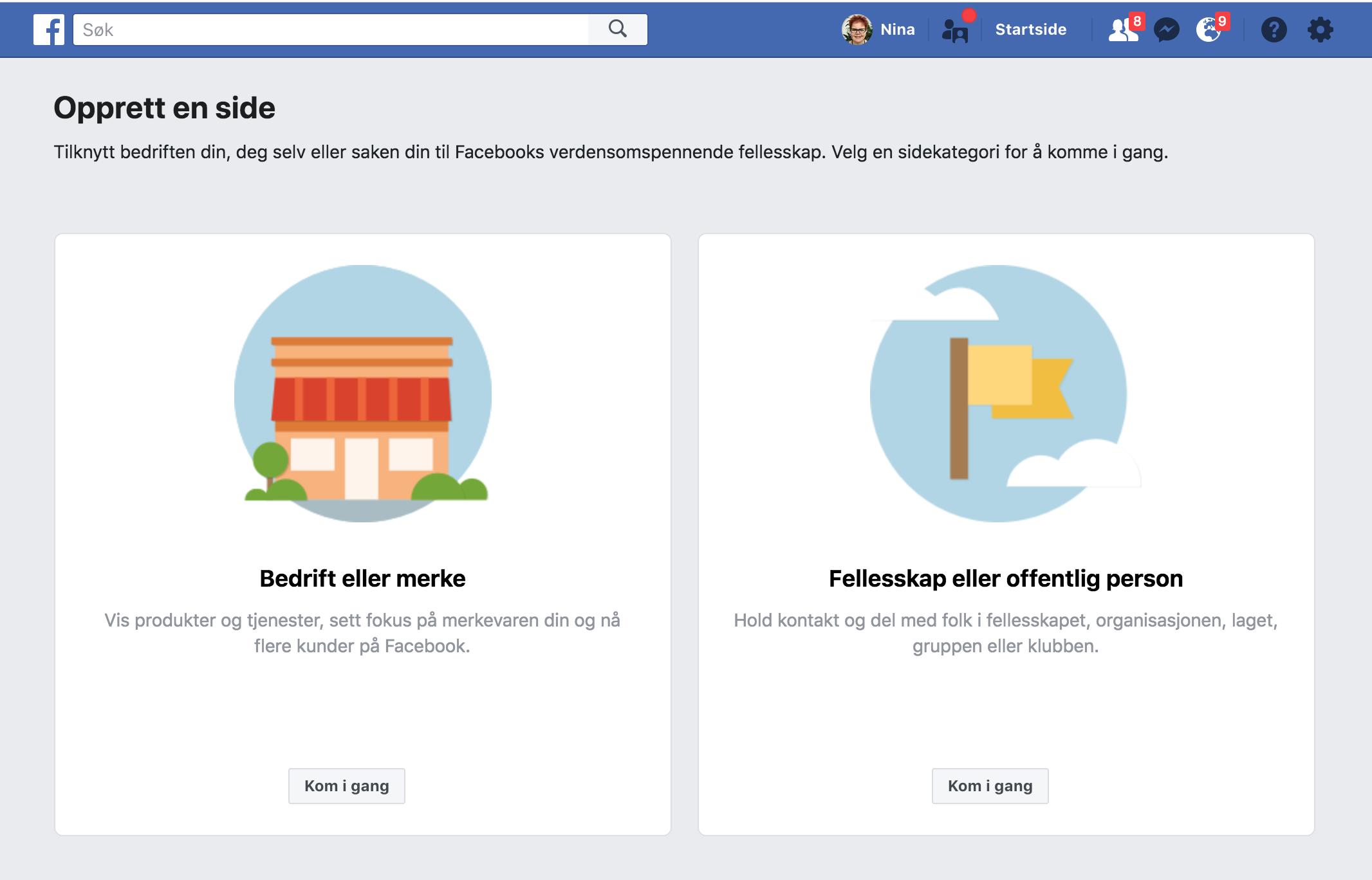 75fe952b og det er ofte her problemet oppstår: Hva slags type Facebook-side skal du  velge?